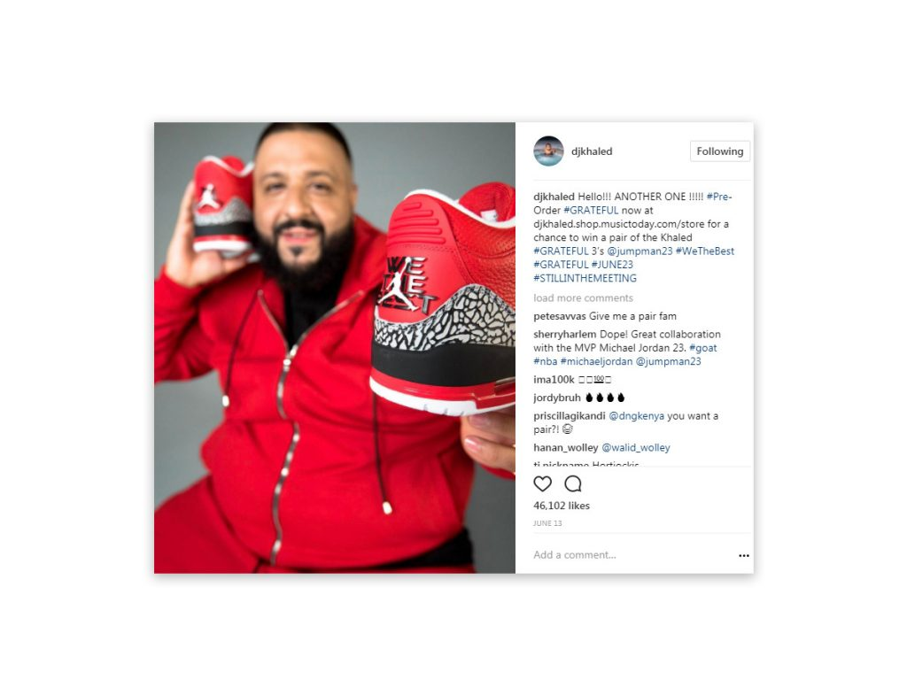 DJ Khaled - Grateful 3s Instagram Post