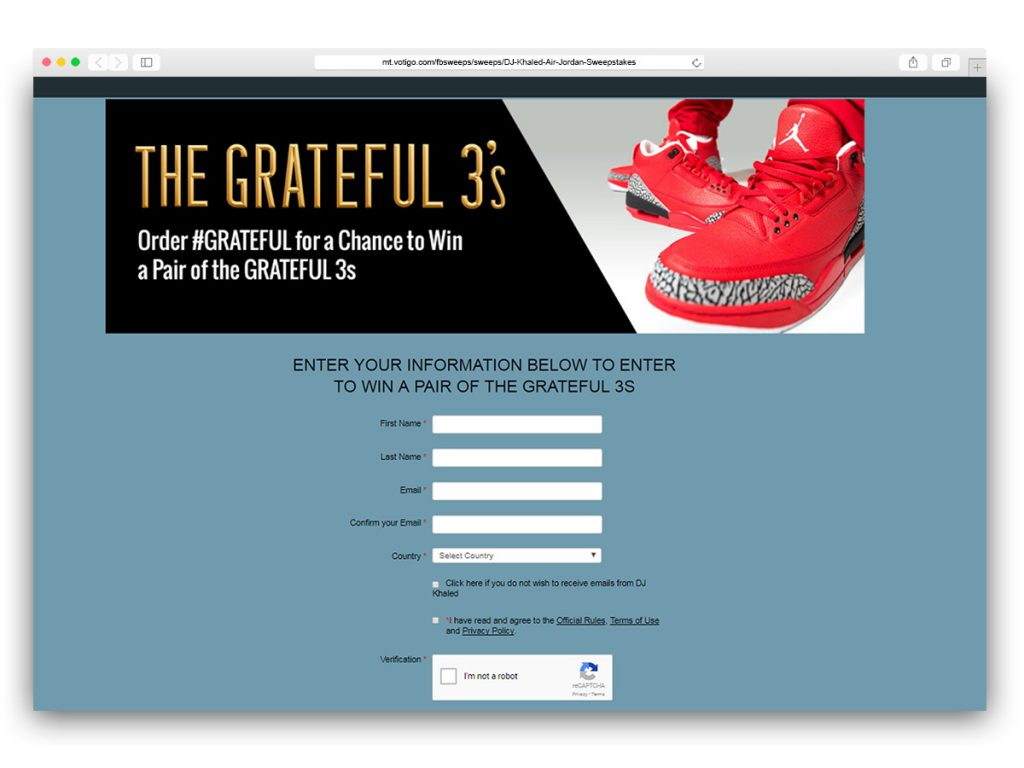 DJ Khaled - Grateful 3s Sweepstakes