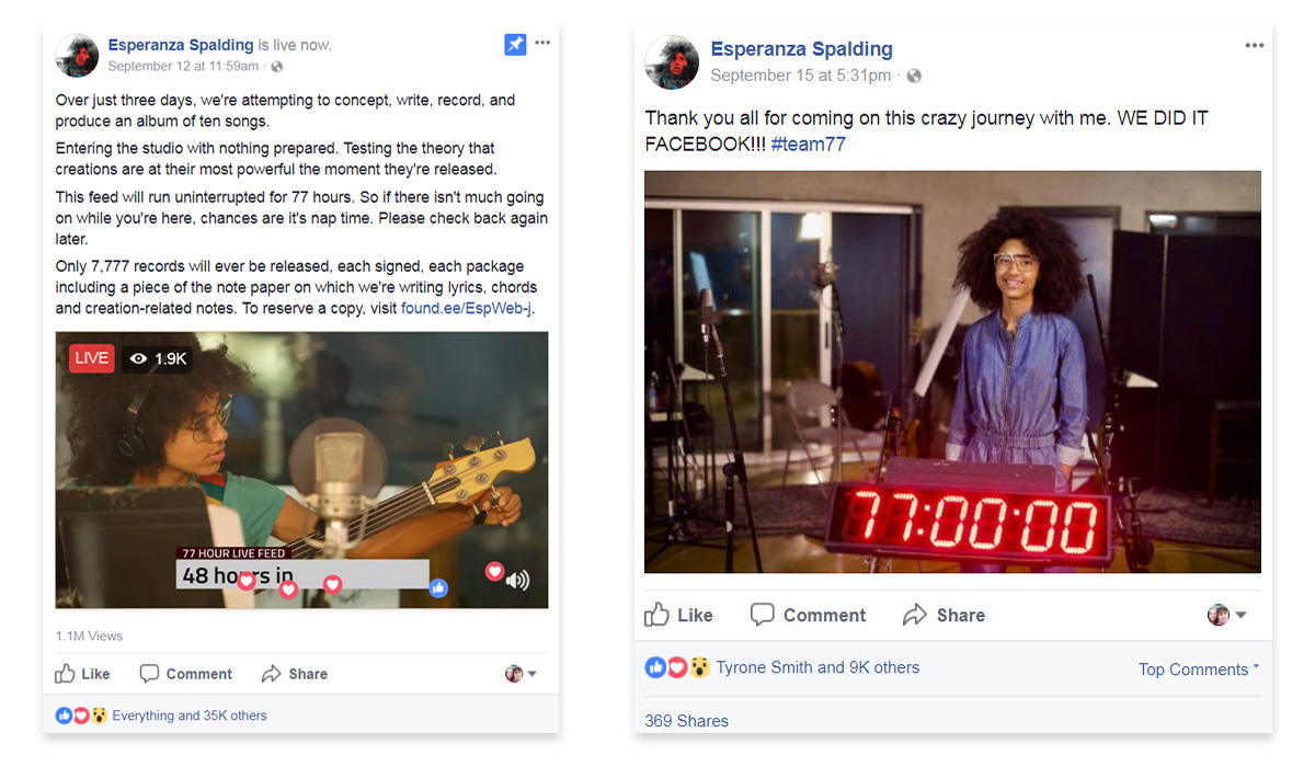 Facebook Live Video - Esperanza Spalding