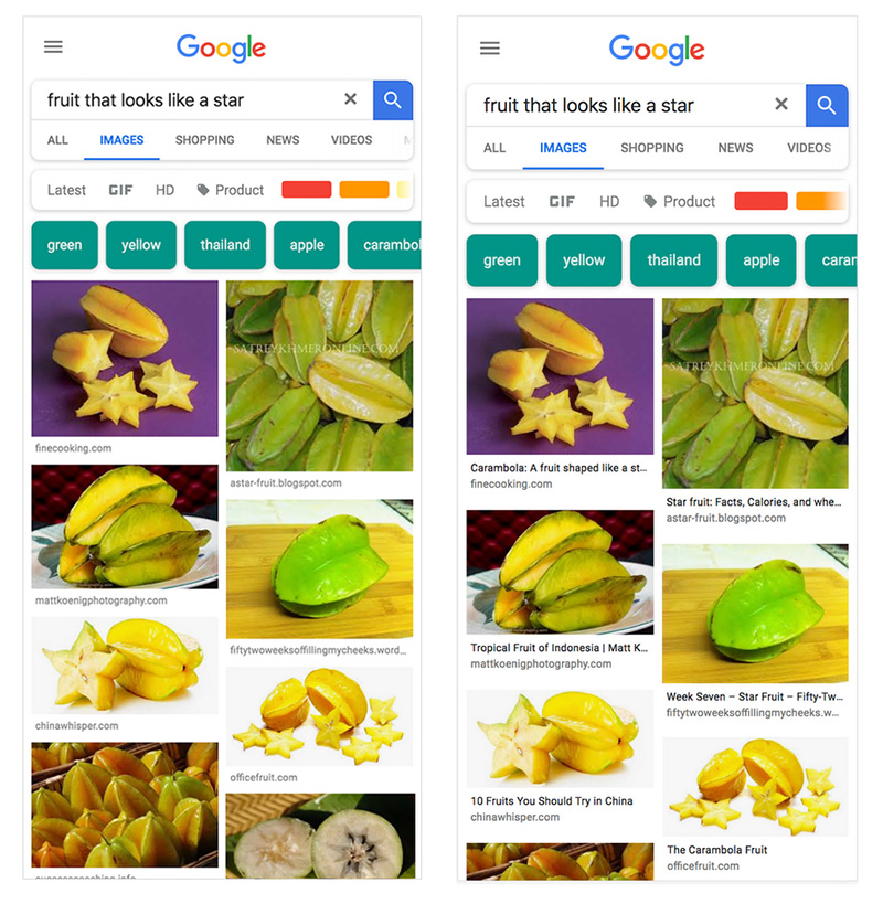 Google image search results with captions