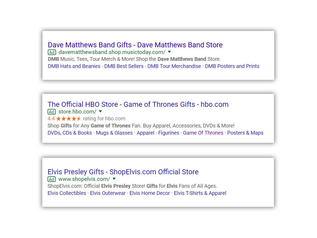 Examples of Google's Paid Search Ads - E-commerce holiday tips