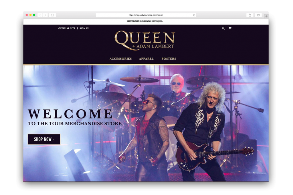 Image of the Queen Merch Official Store home page