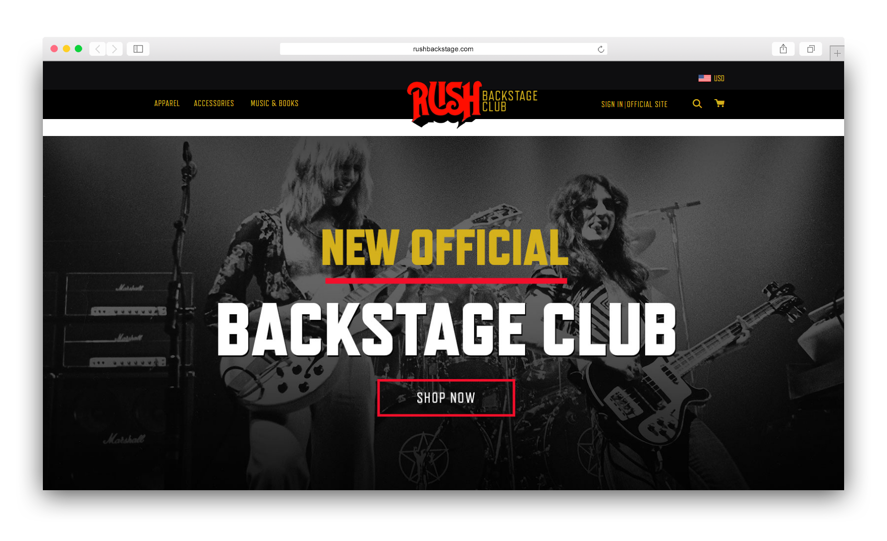 Official Rush Backstage Club Store